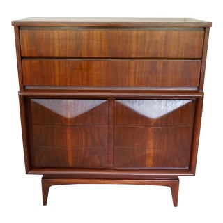 United Mid Century Diamond Front High Chest For Sale