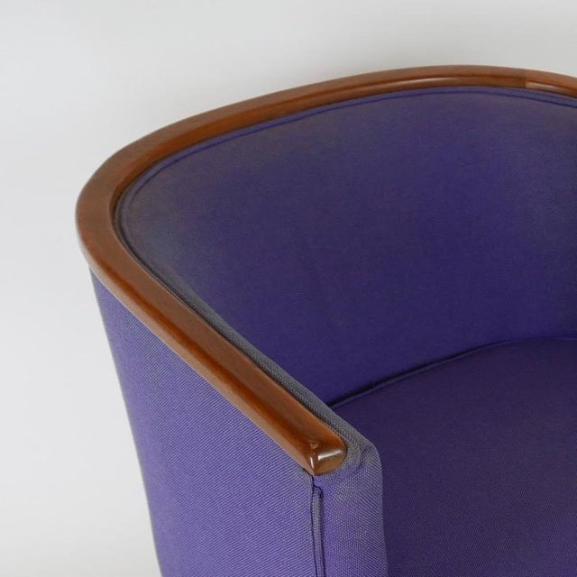 Milo Baughman Pair of Milo Baughman Barrel Back Lounge Chairs With Walnut Detail For Sale - Image 4 of 13
