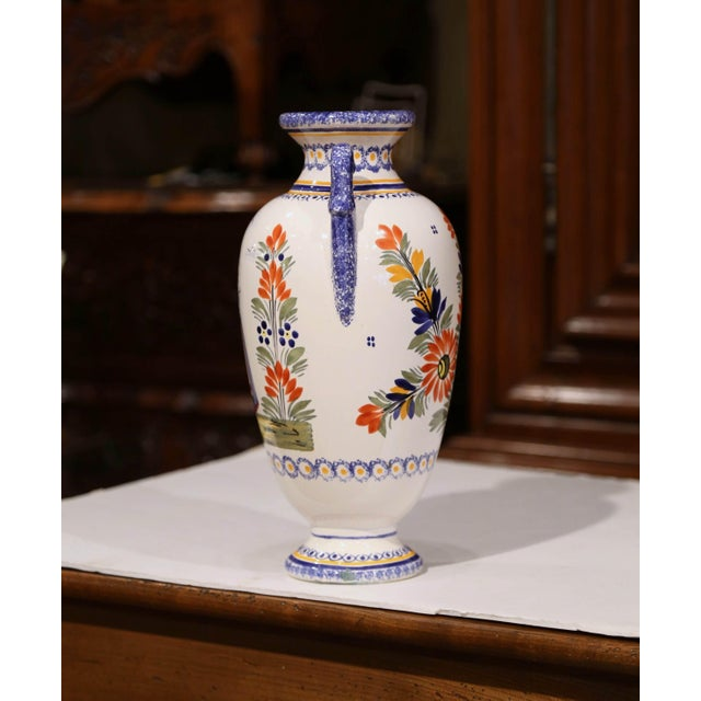 Ceramic Tall Early 20th Century French Hand-Painted Faience Vase Signed Henriot Quimper For Sale - Image 7 of 9