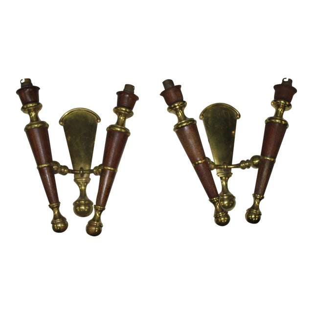 Big Pair Of French Art Deco Solid Bronze / Mahogany Sconces Wall Lights Circa 1940s. - Image 11 of 11