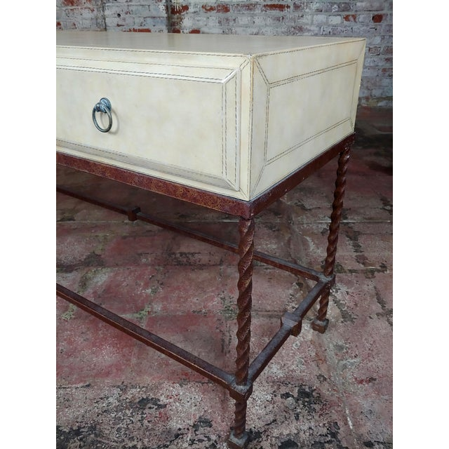 Metal Vintage Wrought Iron & Leather Top Sofa Table Console For Sale - Image 7 of 10