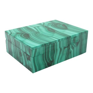 Malachite Semi-Precious Stone Box For Sale