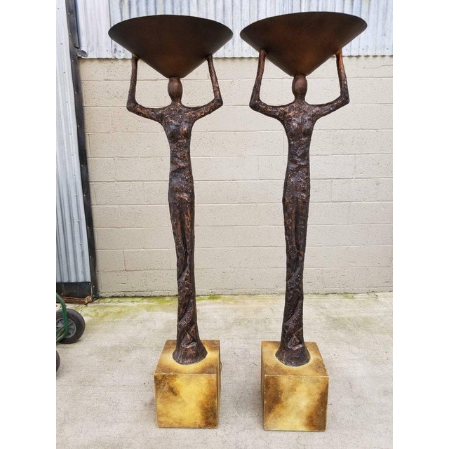 Alberto Giacometti Style Figural Floor Lamps - a Pair For Sale - Image 12 of 13