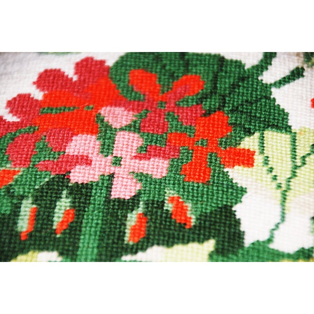Vintage Geranium Needlepoint Pillow - Image 5 of 6