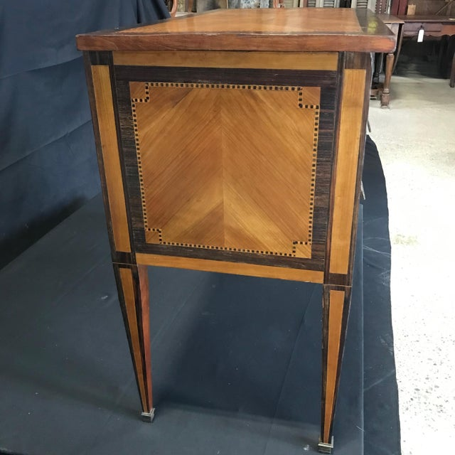 French Louis XVI Style Petite Marquetry Inlaid Two Drawer Commode For Sale - Image 11 of 13