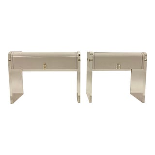 Pair of Space Age Lucite Waterfall Nightstands For Sale