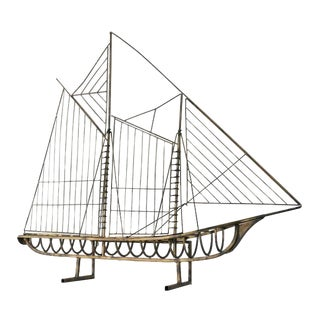 Vintage Brass Skeleton Ship Sculpture Attributed to Curtis Jeré For Sale