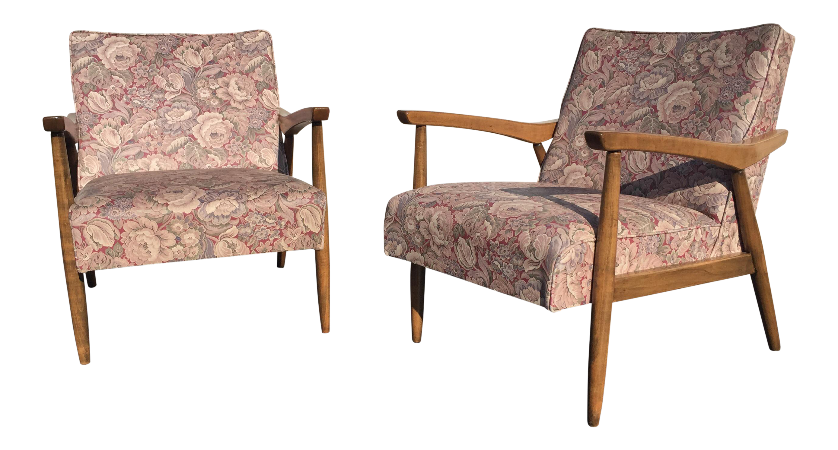 Mid Century Blonde Floral Vinyl Lounge Chairs   A Pair