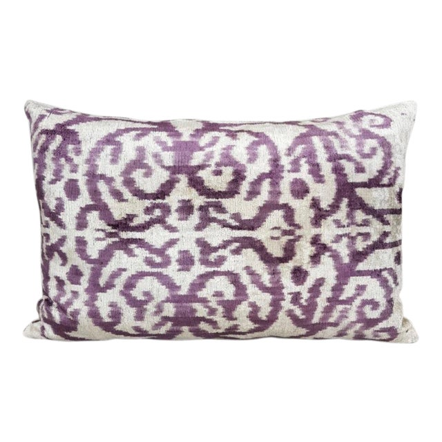 Silk Velvet Ikat Pillow For Sale