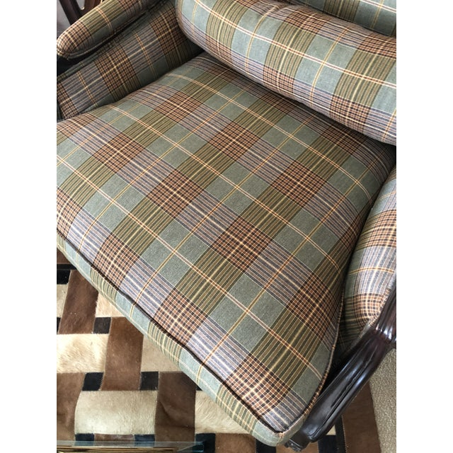 Ralph Lauren Ralph Lauren Carved Mahogany and Plaid Upholstered Club Chair For Sale - Image 4 of 9