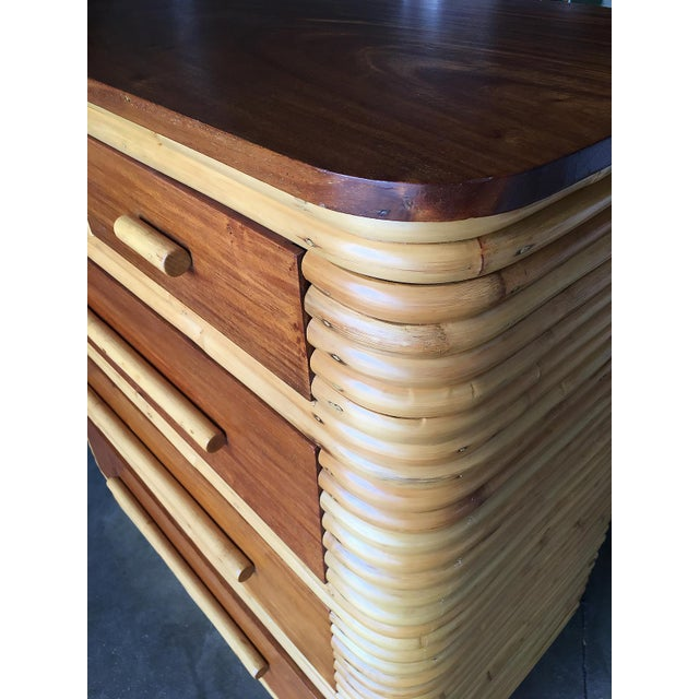 Rattan Restored Stacked Rattan Highboy Dresser With Mahogany Top For Sale - Image 7 of 10