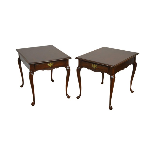 Hitchcock Old Litchfield Solid Cherry Pair Queen Anne One Drawer Side Tables For Sale