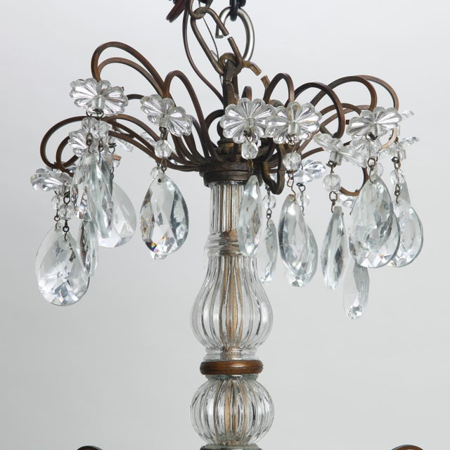 Italian Italian Three Tier Crystal Chandelier with Dark Metal Frame For Sale - Image 3 of 6