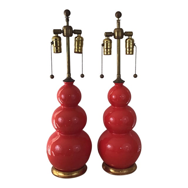Christopher Spitzmiller Three Ball Orange Table Lamps Signed and Dated - a Pair For Sale
