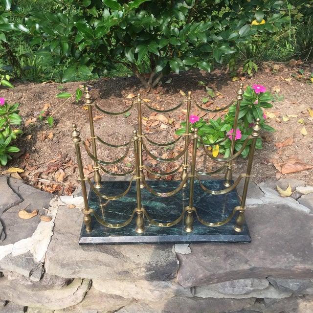 Vintage Brass & Marble Nine Bottle Wine Rack For Sale - Image 4 of 8