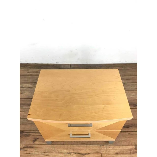 Italian wood night stand stamped by the maker with metal pulls. Dimensions (in): 28.0 W x 20.0 D x 25.0 H.