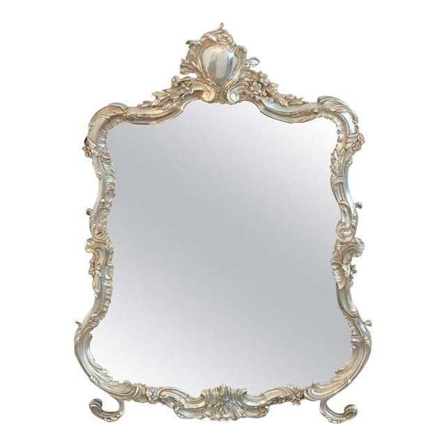 French Silver Plated Dressing Mirror For Sale