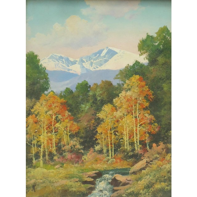 Lodge Willard Page Rocky Mountain Scene Painting For Sale - Image 3 of 8