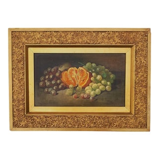 Late 19th Century Antique George William Whitaker Still Life of Fruit Oil on Wooden Board Painting For Sale