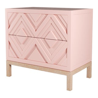 Susana Side Table - Coral Dust, Natural Cerused Oak For Sale