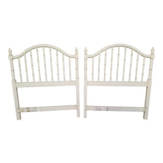 Hollywood Regency Thomasville Allegro Fretwork Faux Bamboo Twin Headboards - a Pair For Sale