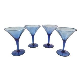 1970s Vintage Cobalt Martini Glasses - Set of 4 For Sale