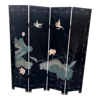 Chinese Coromandel & Gilt Leaf Four Panel Screen