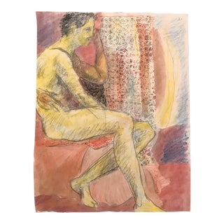Male Nude Studio Collage and Watercolor Drawing by James Bone For Sale