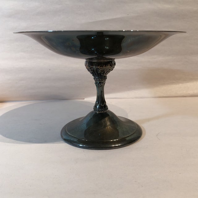 Reed & Barton Silver Plate & Blue Enamel Pedestal Bowl For Sale - Image 10 of 11