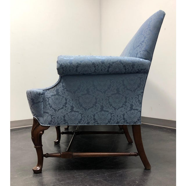 Hickory Chair Queen Anne Sofa Settee in Blue Brocade For Sale In Charlotte - Image 6 of 13