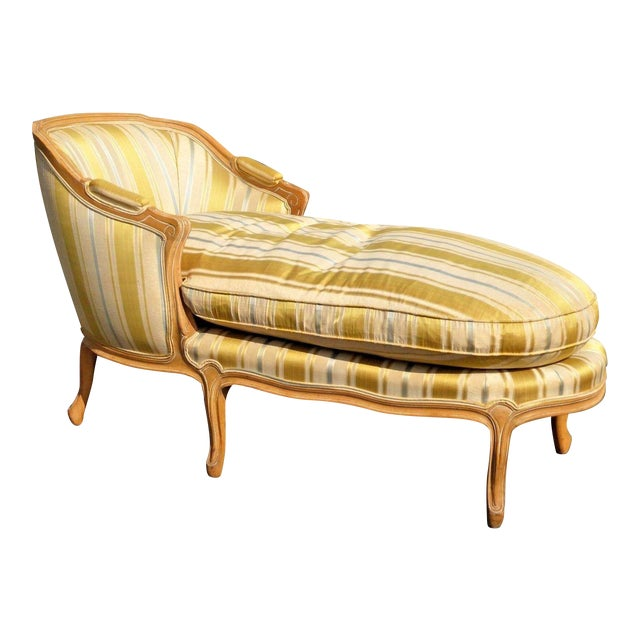 Vintage Baker French Provincial Gold Chaise Lounge Goose Down Cushion For Sale