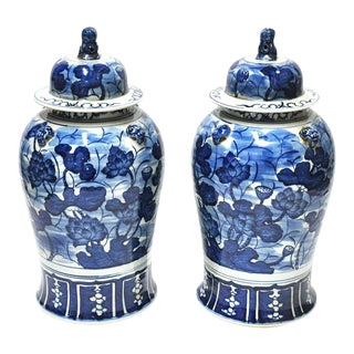 Pair of Blue & White Foo Dog Jars W Lids For Sale