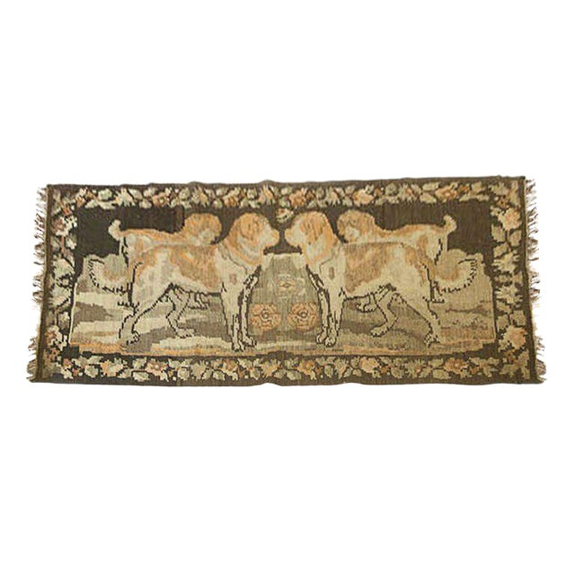 Russian Brown Kilim with Dogs For Sale