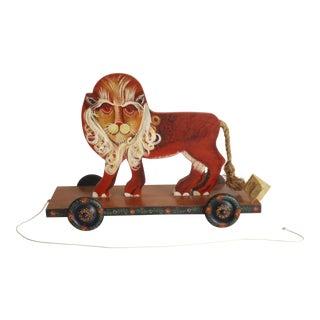 1980s Folk Art Hethcote's Donkey Cree Painted Wood Lion Pull Toy