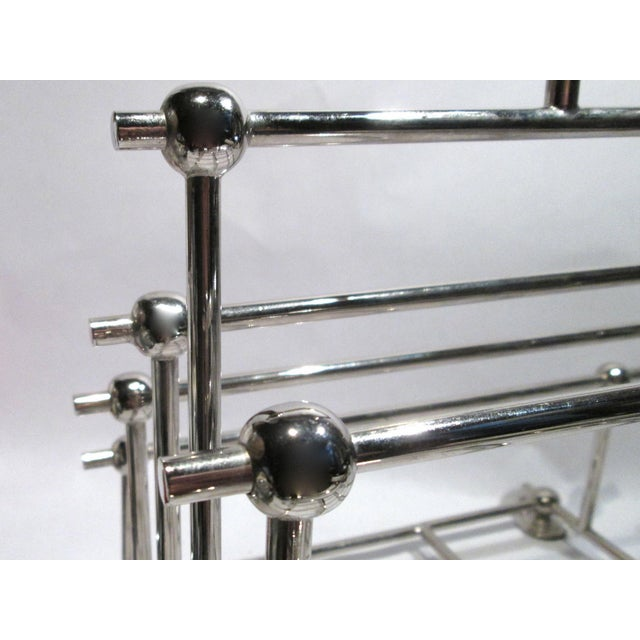 1970s Art Deco Inspired Architectural Chrome Magazine Holder/Rack For Sale - Image 9 of 10