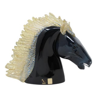Horse Head Art Glass Sculpture From Murano For Sale