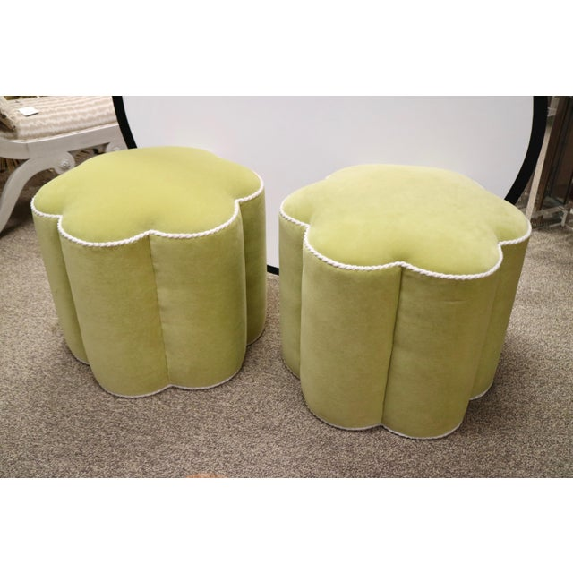 Chartreuse Custom Ottoman's, a Pair - Image 2 of 9