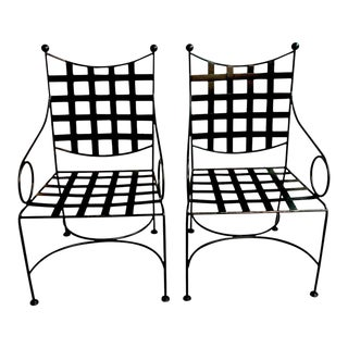 Salterini Style Woven Wrought Iron Patio Armchairs - a Pair For Sale