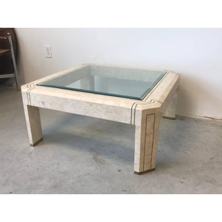 1980s Maitland-Smith Tessellated Stone and Brass Inlay Coffee Table With Glass Preview