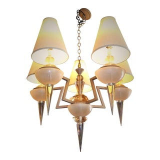 Monumental Van Teal Lucite and Metal Chandelier Ziggurat Motif 1980s