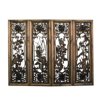 Chinese Set Vintage Distressed 4 Seasons Flower Wooden Wall Plaque Panels For Sale