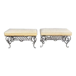 Pair Of 1900's French Iron Benches With Trelice Rosette Motif For Sale