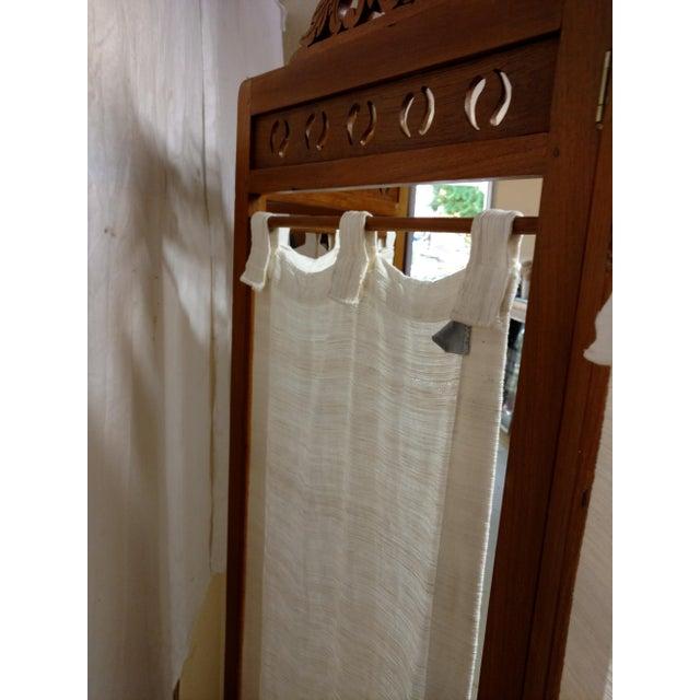 1970s Vintage Carved Wood Room Screen Linen Panels For Sale - Image 5 of 12