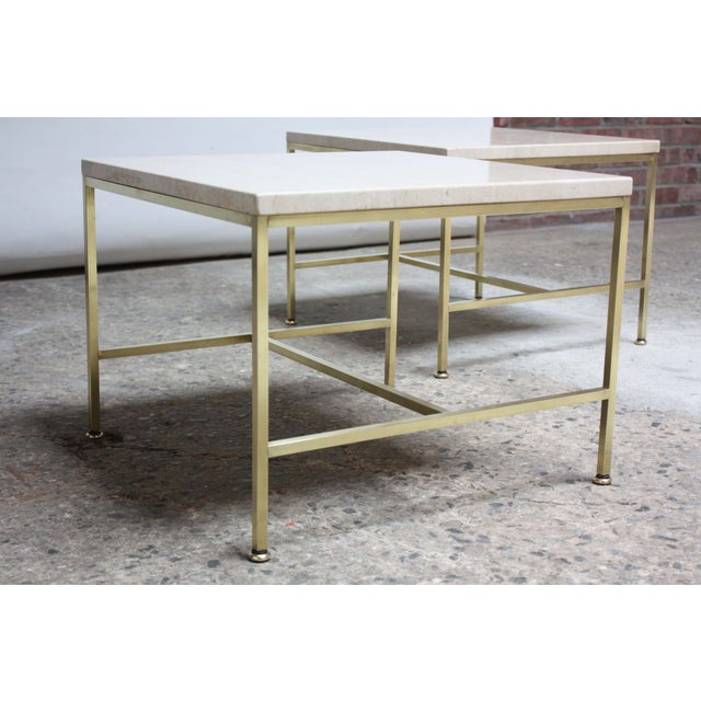 Paul McCobb Travertine and Brass Occasional Tables For Sale In New York - Image 6 of 13