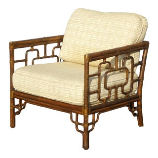 1980s Vintage McGuire Chinese Chippendale Bamboo Accent Arm Chair For Sale