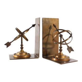 Vintage Bronze Tone Metal Armillary Sphere Bookends For Sale