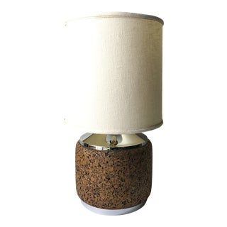 Mid-Century Modern Cork and Chrome Lamp For Sale