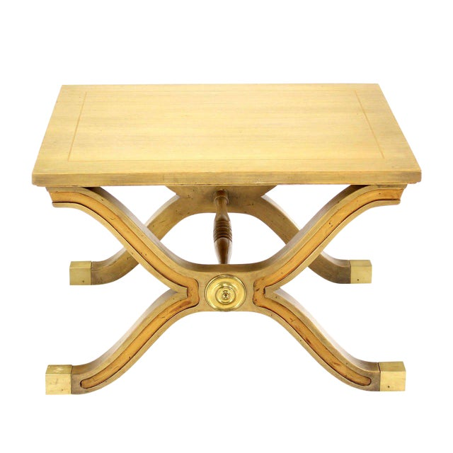 Hollywood Regency X-Base Side Table or Stool For Sale
