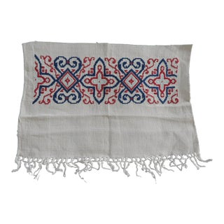 Vintage Cross-Stitch Red and Blue Embroidered Linen Textile Fragments For Sale