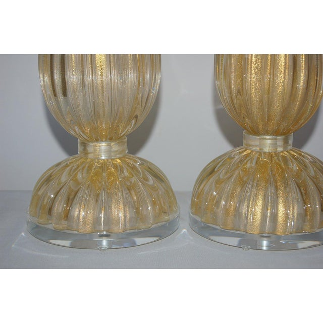 2010s Vintage Murano Glass Table Lamps Gold For Sale - Image 5 of 10